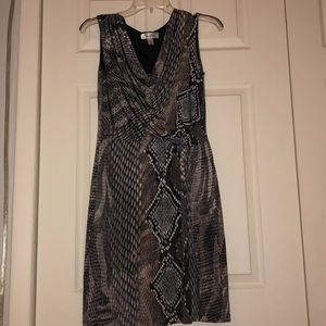 Lightweight draped neckline snakeskin work dress